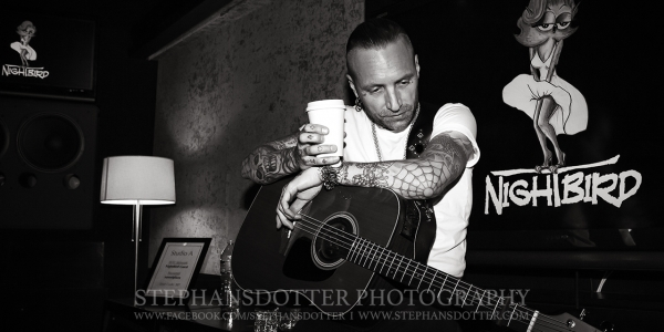 Nicke Borg, Backyard Babies having a coffee break at Nightbird studios in Los Angeles