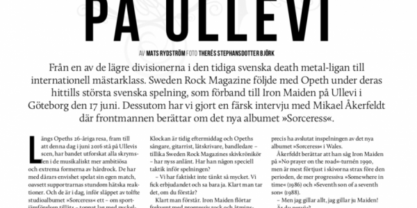 Opeth at Ullevi, feature article for Sweden Rock Magazine